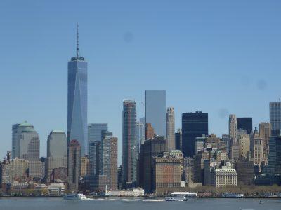 New York, chicche: vista su Manhattan dal traghetto di Staten Island